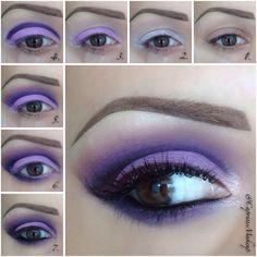 Vivid purple eye makeup
