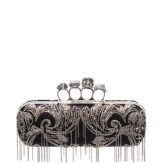 ALEXANDER MCQUEEN | Bags | Metal Flower Embroidery Knuckle Box Clutch with Chain