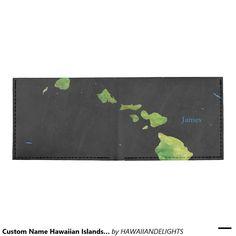 Custom Name Hawaiian Islands Men's Wallet Tyvek® Billfold Wallet