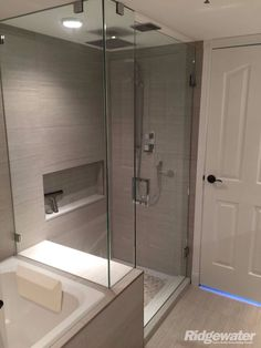Ok, a little boring, but spa like. Bathroom Tub Shower, Bathroom Renos, Bathroom Renovations, Best Bathroom Designs, Bathroom Interior Design, Modern Master Bathroom, Small Bathroom, Master Bath Remodel, Dream Bathrooms
