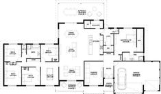 The Busso Floorplan Floorplan. All of the bathrooms need to be rearranged to be more functional, but other than that it's good. 5 Bedroom House Plans, Barn House Plans, New House Plans, Dream House Plans, House Floor Plans, My Dream Home, Dream Houses, Home Design Floor Plans, Plan Design