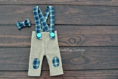 Newborn Photography Pants  Upcycled Tan Blue and Teal Flannel Suspenders with bow tie by ToodleBugCreations, $26.50