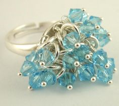 Items similar to HOLIDAY Sale Aquamarine Crystal Shaggy Ring in Sterling Silver Bling - Half Price Sale on Etsy Diy Jewelry Rings, Jewelery, Silver Jewelry, Jewelry Making, Unique Jewelry, Silver Ring, Jewelry Ideas, Diy Jewellery, Jewelry Tools