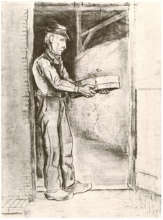Man with Winnow by Vincent Van Gogh Watercolor, Pencil, black chalk, watercolour  Etten: September, 1881