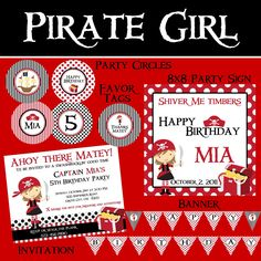 Pirate Mini Birthday Party Package Girl DIY by PartySoPerfect