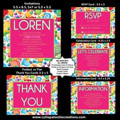 Candy Theme Bat Mitzvah Invitation, RSVP, Thank You, Enclosure Cards by OneWhimsyChick on Etsy
