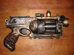 The Nerf blaster N-Strike Maverick Rev-6 is given a steampunk modification, turning the toy into a retro-futuristic looking weapon