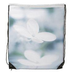Beautiful white blossoms drawstring bag carry-all, pouch, studio, photo, photography, artwork, buy, bag, tote, drawstring, hydrangea, blossom, blossoms, bloom, blooming,  flower, flowers, tender, love, summer, garden, white, light, spring