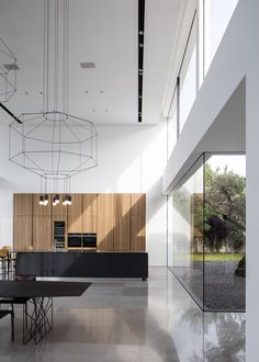 Image 21 of 54 from gallery of F House / Pitsou Kedem Architects. Photograph by Amit Geron Contemporary Interior Design, Interior Design Kitchen, Kitchen Decor, Kitchen Ideas, Interior Livingroom, Kitchen Tile, Minimalist Architecture, Interior Architecture, Public Architecture