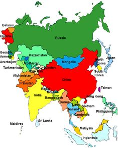 asian countries map | Asia Map: China, Russia, India, Japan ...