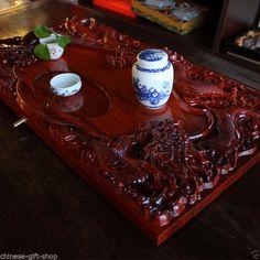 Chinese Ebony dragon solid wood teatray luxury tea tray tea beach Tea table gift