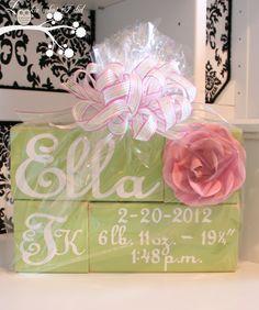DIY Personalized Baby Blocks - sweet baby gift idea