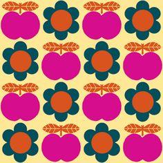 Motif vintage pommes / fleurs