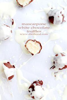 Mascarpone White Chocolate Truffles | www.diethood.com | Sweet and creamy truffles made with a silky mixture of white chocolate and mascarpone cheese.