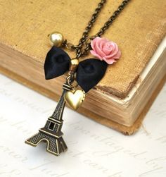 travel inspired paris necklace