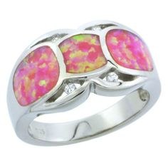 Sterling Silver Synthetic Pink Opal Band in CZ Stone Accent, 1/2 inch wide, size 7 on http://jewelry.kerdeal.com/sterling-silver-synthetic-pink-opal-band-in-cz-stone-accent-12-inch-wide-size-7