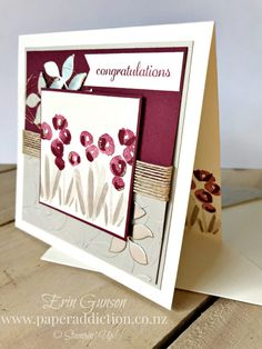 Abstract Impressions Embossed Card. Stampin Up Demonstrator Erin Gunson as Paper Addiction