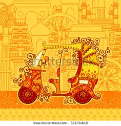 Vector design of auto rickshaw on famous monument backdrop in Indian art style - stock vector Indian Traditional Paintings, Indian Art Paintings, Indian Artwork, Mural Painting, Fabric Painting, Rajasthani Art, Indian Illustration, Famous Monuments, Tanjore Painting