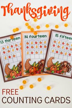 Thanksgiving Counting Cards - Need some Thanksgiving math activities for your math preschool center! This free counting cards printable comes with two variations so all you preschoolers will get lots of counting practice. Free Thanksgiving Cards, Thanksgiving Preschool, Fall Preschool, Thanksgiving Parties, Preschool Crafts, Numbers Preschool, Preschool Printables, Preschool Ideas, Math Activities For Kids