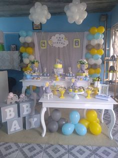 Baby Shower Cakes, Baby Shower Themes, Baby Boy Shower, Elephant Theme, Baby Elephant, Mesas Para Baby Shower, Candy Table, Baby Decor, Party Themes
