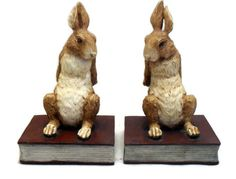Rabbit Bookends Vintage Home Decor Figurine