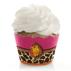 Giraffe Girl - Birthday Party Cupcake Wrappers | BigDotOfHappiness.com
