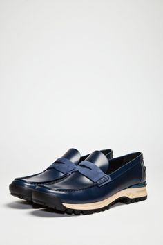 ACNE Bernhard Penny Loafer Blue Mix