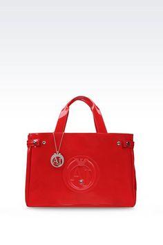 Armani Jeans Donna SHOPPING BAG IN ECO VERNICE CON CIONDOLO a3a50745a7f5e