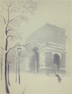 Ellison Hoover (1888-1955) Washington Arch in Snow (with traveler). c. 1930. Lithograph printed in grey ink.