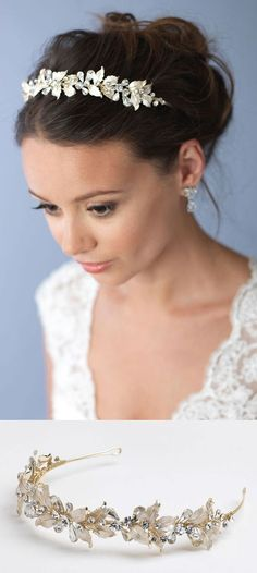 Love this elegant wedding updo! <3 Perfectly accented with a natured inspired floral gold headband. Details include frosted gold leaves eclipsed by hand-wired round and pear-shaped rhinestones with purely radiant sparkle.