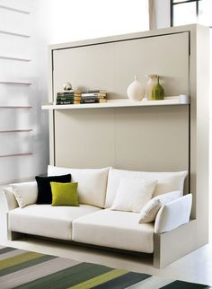 Transform your small space with our Nuovoliola a queen-sized wall bed that converts into a sofa. Murphy Bed With Sofa, Best Murphy Bed, Modern Murphy Beds, Murphy Bed Plans, Resource Furniture, Cama Murphy Ikea, Sofa Bed Uk, Beds Uk, Ikea Sofa