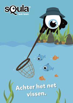 Pech hebben of net een gelegenheid missen. Educatieve poster met Nederlandse spreekwoorden en gezegden: Achter het net vissen.