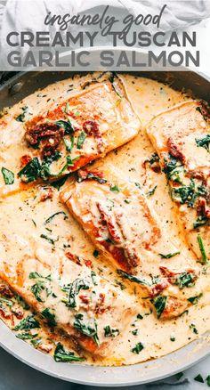 Creamy Tuscan Garlic Salmon is an easy 30 minute restaurant quality meal. - Creamy Tuscan Garlic Salmon is an easy 30 minute restaurant quality meal. The pan seared salmon g - Salmon Dishes, Fish Dishes, Seafood Dishes, Seafood Recipes, Seafood Boil, Salmon Meals, Salmon Food, Dill Salmon, Honey Salmon