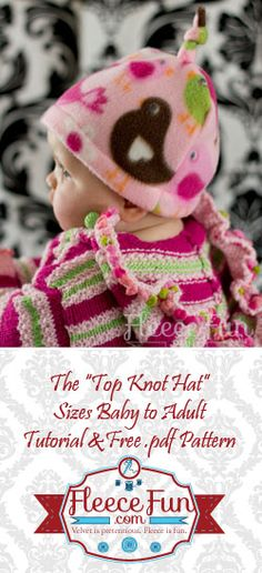 You can make a cute fleece hat with a top knot free pattern and tutorial.