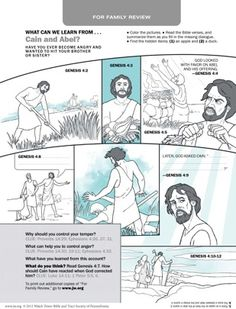 Family Worship - use with new release. What Can We Learn From Cain and Abel? Preschool Bible Activities, Bible Crafts For Kids, Bible Lessons For Kids, Kids Bible, Sunday School Projects, Sunday School Lessons, Kain Und Abel, Best Study Bible, Genesis Bible