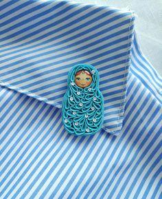 Polka dot Matryoshka doll brooch Polymer clay Russian nesting