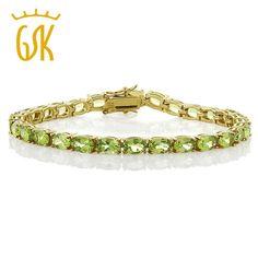 "[Visit to Buy] GemStoneKing  12.00 Ct 18k Yellow Gold Plated Sterling Silver Peridot Tennis Bracelet For Women 7.5"" #Advertisement"
