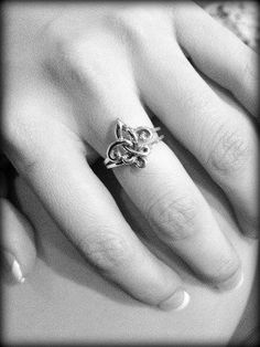 Two separate rings linked together through the fleur de lis...