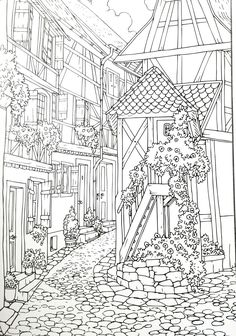 adult coloring page | village