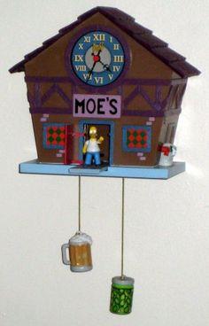 The Simpsons Moe's Tavern Bar Cuckoo Wall Clock Homer Simpson Szyslak Duff Beer $15
