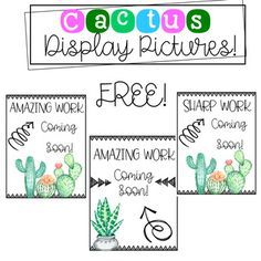 Enjoy 3 FREE cactus themed display pictures for work coming soon. Can be used for open house, or until work is displayed.If you love this, be sure to check out my HUGE cactus bundle below!https://www.teacherspayteachers.com/Product/Cactus-Classroom-Decor-3188812ENJOY! :)