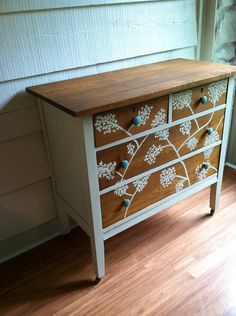Handpainted Dresser Vintage Solid Wood Painted by LynorByJessica