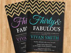 30th birthday invitation women. Thirty and Fabulous. Glitter Glam Chevron. Pink, Purple, Tiffany Blue, Any color. Printable digital DIY.