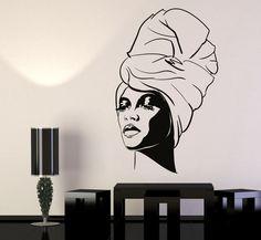 Vinyl Wall Decal African Woman Turban Black Lady Fashion Model Stickers 1202Ig