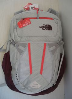 The north face womens recon laptop backpack- daypack -clg3-lunar ice grey m  red cd8bf053300c