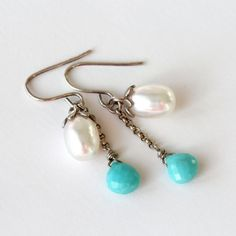 Turquoise Pearl Antique Sterling Silver Dangle by TheGoosle