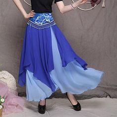 Women's Bohemia Novel Sweet Chiffon Irregular Long Skirt(Beaded Random) – USD $ 47.99