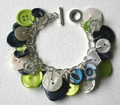 Button Charm Bracelet Pearly Cream Lime Green and Navy Blue
