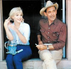 "Marilyn Monroe & Clark Gable on the set of ""The Misfits"", 1960."