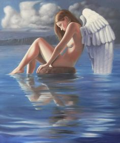 Reflection - Oil on canvass #art #angel #painting #oil # artistleonardo #finearttips #artedivierte #pintura #arte
